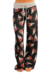 Charcoal Floral Terry Wide Leg Pants