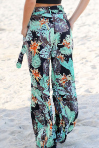 Tropical Green Print Palazzo Pants