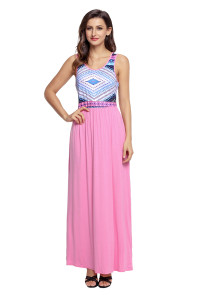 Stylish Tribal Print Sleeveless Pink Maxi Dress