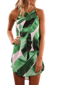 Green Leaf Print Sleeveless Dress