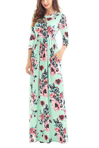 Classic Floral Print Green 3/4 Sleeve Maxi Dress