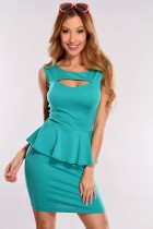 Green Cutout Peplum Dress