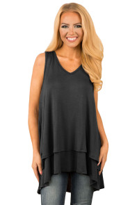 Black Ruffled Layer Asymmetric Hem Tunic Tank