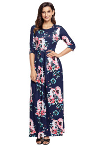 Classic Floral Print Navy 3/4 Sleeve Maxi Dress.