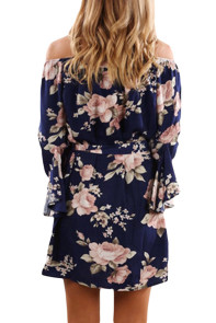 Pink Floral Print Navy Off Shoulder A-line Dress