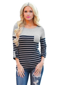 Gray Shoulder Black White Striped Blouse