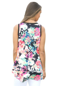 Black Front Floral Print Back High-low Hem Tank