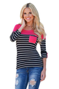Rosy Shoulder Black White Striped Blouse