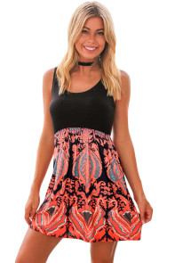 Black and Orange Printed Short Dress