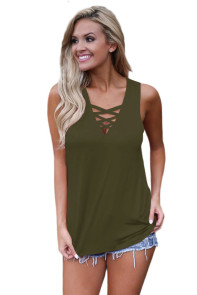 Army Green Crisscross V Neckline Women Tank Top