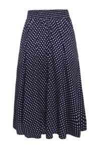 Blue White Retro Polka Dot High Waist Midi Skirt