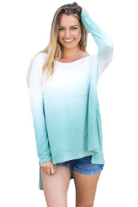 Mint Ombre Split Side Long Sleeve Top
