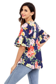 Blue Big Floral Print Ruffle Sleeve Top