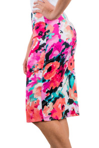 Rosy Floral Print Pencil Skirt