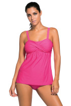 Deep Pink 2pcs Swing Tankini Swimsuit