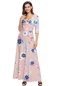 Light Pink Floral Print Wrapped Long Boho Dress