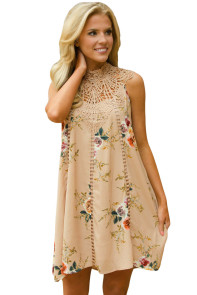 Apricot Crochet Lace Neck Floral Dress