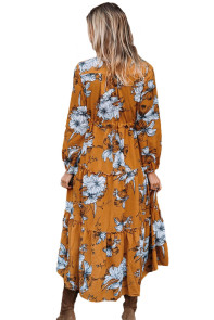 Mustard Floral Print Long Sleeve Boho Maxi Dress