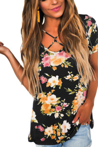 Black Floral Print Crisscross V Neck Casual Shirt