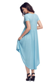 Light Blue Short Sleeve High Low Pleated Casual Swing Dress