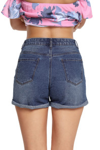 Medium Blue Destroyed Denim Cuffed Shorts