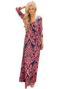 Navy Coral Damask Print Wrap V Neck Boho Dress
