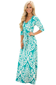 Mint Ivory Damask Print Wrap V Neck Boho Dress