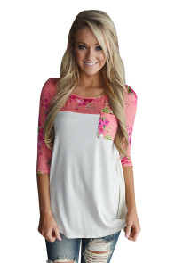 Floral Printed White Womens Top