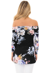 Black Floral Off Shoulder Crisscross Top