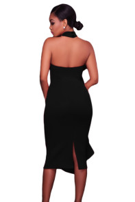 Black Halter High Neck Ruffled Midi Party Dress with Back Slit