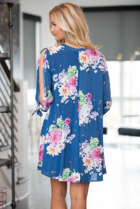 Blue Background Floral Dress with Slit Sleeve