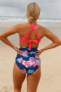 Pink Cross Front Bikini Vintage Floral High Waist Swimsuit
