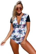 Beach Sunset Zip Front Half Sleeve One Piece Swimsuit
