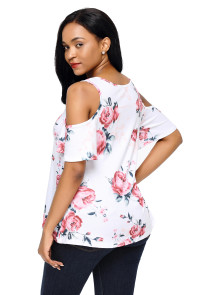 Pink Floral Print White Background Womens Top