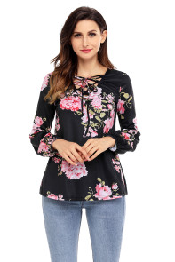 Black Floral Criss Cross Long Sleeve Top