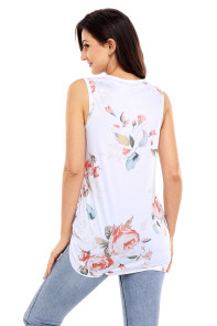 Knot Front Detail White Floral Tank Top