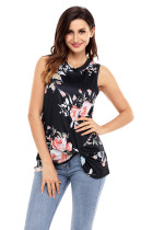 Knot Front Detail Black Floral Tank Top