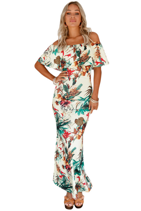 Vibrant Botanic Print Off-the-shoulder Maxi Dress