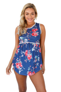 Navy Blue Floral Pompom Lace Trim Flowy Tank Top