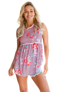 Dusty Pink Floral Pompom Lace Trim Flowy Tank Top