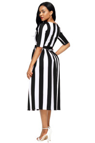 Black Stripe Print Half Sleeve Belted Dress