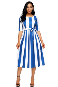 Blue Stripe Print Half Sleeve Belted Dress