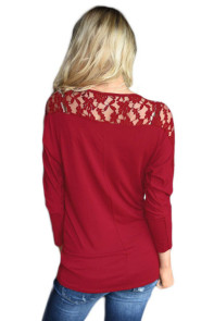 Burgundy Floral Lace Insert 3/4 Sleeve Top