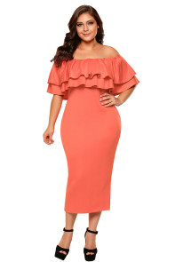 Orange Layered Ruffle Off Shoulder Midi Dress