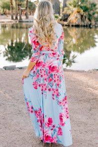 Light Blue Blooming Flower Print Wrap V Neck Boho Dress