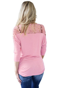 Pink Floral Lace Insert 3/4 Sleeve Top