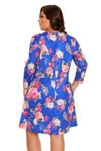 Royal Blue Floral Print Crisscross Neck Curvy Dress