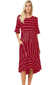 Burgundy White Striped Bell Sleeve Hi-low Midi Dress