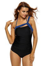 Royal Blue Straps Accent Black One Piece Swimsuit