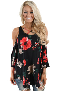 Black Floral Print Three Quarter Sleeve Drop Shoulder Blouse